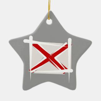 Alabama Brush Flag Ceramic Star Ornament