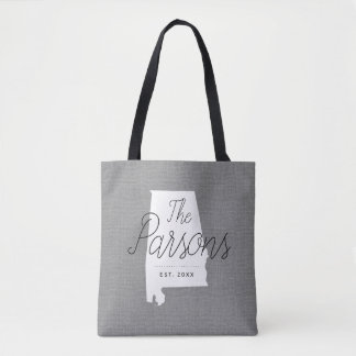 Alabama Family Monogram State Tote Bag