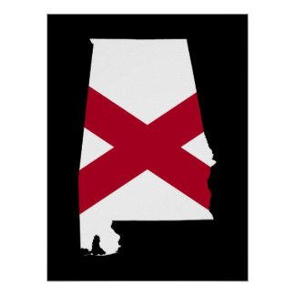 Alabama Flag Colors Poster