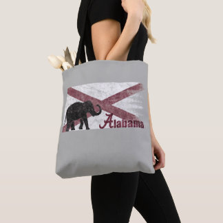 Alabama Flag, Elephant. Retro Vintage, Distressed Tote Bag