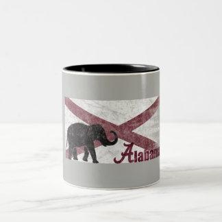 Alabama Flag, Elephant. Retro Vintage, Distressed Two-Tone Coffee Mug