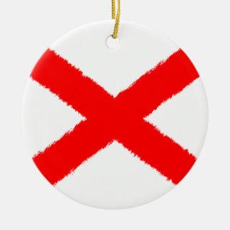 Alabama Flag Round Ceramic Ornament