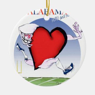 alabama head heart, tony fernandes round ceramic ornament