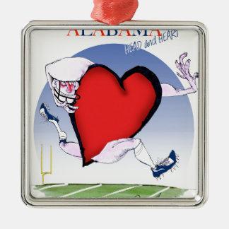 alabama head heart, tony fernandes Silver-Colored square ornament