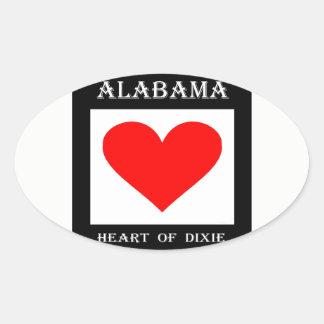 Alabama Heart of Dixie Oval Sticker