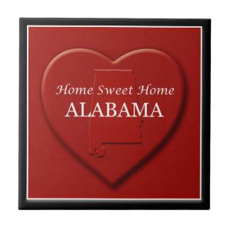 Alabama Home Sweet Home Heart Map Tile