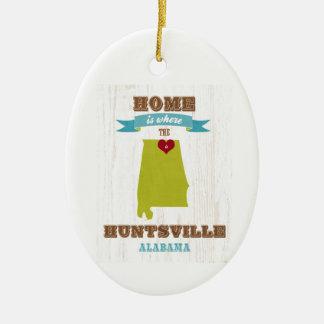 Alabama, Huntsville Map – Home Is Where Ceramic Oval Ornament
