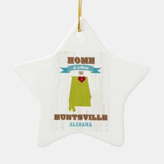 Alabama, Huntsville Map – Home Is Where Ceramic Star Ornament
