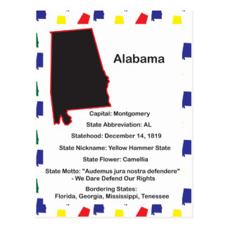 Alabama Information Educational Postcard