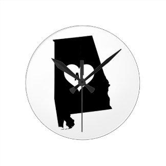 Alabama Love Round Clock