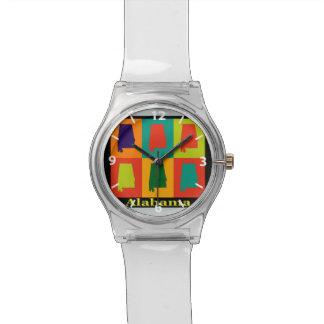 Alabama Map Silhouette Pop Art Wristwatch