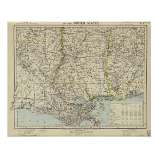 Alabama, Mississippi, Louisiana, Arkansas Poster