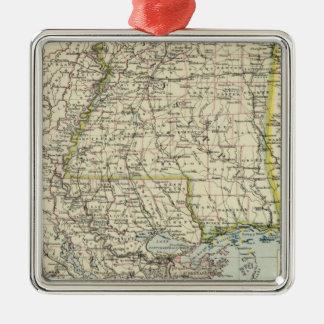 Alabama, Mississippi, Louisiana, Arkansas Silver-Colored Square Ornament