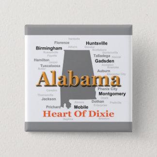 Alabama Pride Map 2 Inch Square Button