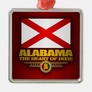 Alabama Pride Silver-Colored Square Ornament