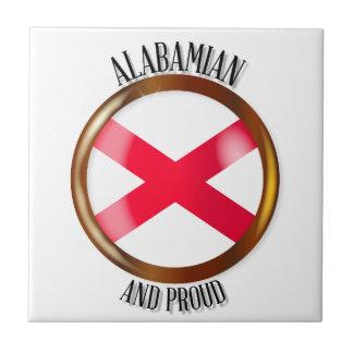Alabama Proud Flag Button Ceramic Tile