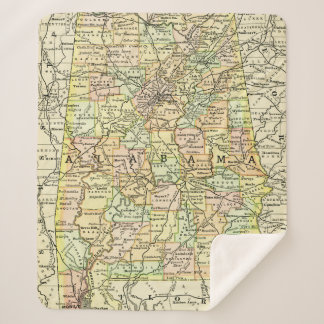Alabama Retro Vintage Map Towns & Roads Mobile Sherpa Blanket