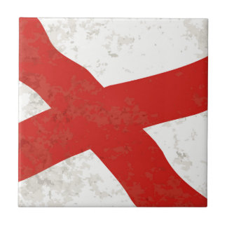 Alabama Sate Flag Grunge Ceramic Tiles