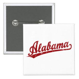 Alabama script logo in red 2 inch square button