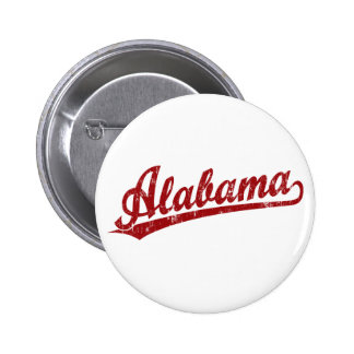 Alabama script logo in red pinback buttons