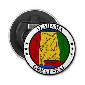 Alabama seal united states america flag symbol rep button bottle opener