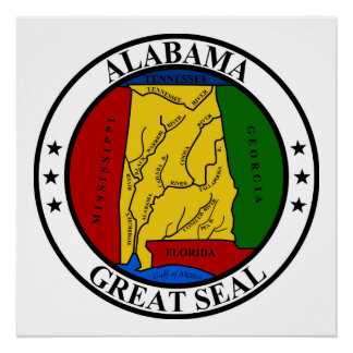 Alabama seal united states america flag symbol rep poster