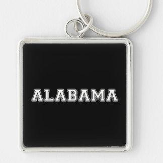 Alabama Silver-Colored Square Keychain