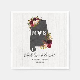 Alabama State Destination Rustic Wedding Monogram Paper Napkins