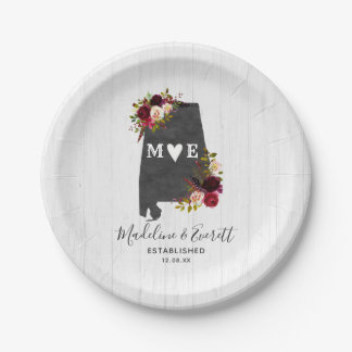 Alabama State Destination Rustic Wedding Monogram Paper Plate