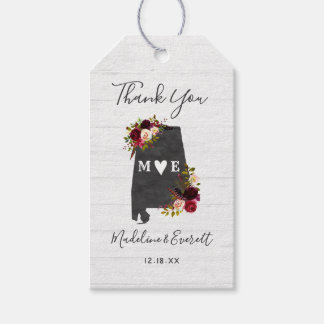 Alabama State Destination Rustic Wedding Thank You Gift Tags