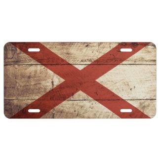 Alabama State Flag on Old Wood Grain 1 License Plate