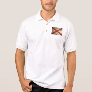 Alabama State Flag on Old Wood Grain Polo Shirt