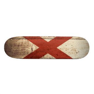 Alabama State Flag on Old Wood Grain Skateboards