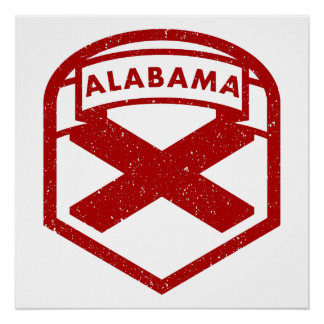 Alabama State Flag Shield Poster
