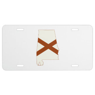 Alabama State Flag Silhouette License Plate