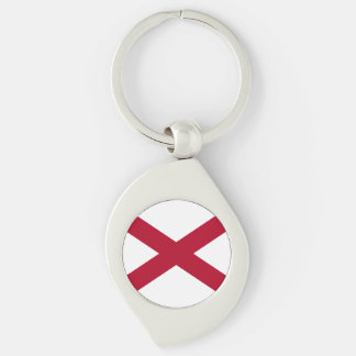Alabama State Flag Silver-Colored Swirl Keychain