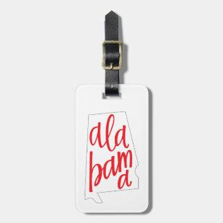 Alabama State Outline Luggage Tag