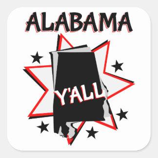 Alabama State Pride Y'all Square Sticker