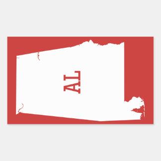Alabama State White Map AL Abbreviation Stickers