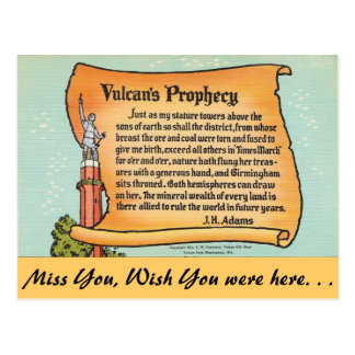 Alabama, Vulcan's Prophecy Postcard