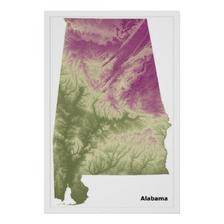 Alabama Wall Art Poster, Green to Purple