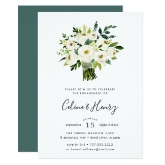 Alabaster Bouquet Engagement Party Invitation