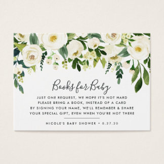 Alabaster Floral Book Request Baby Shower Card
