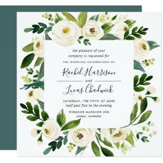 Alabaster Floral Frame Wedding Invitation   Square