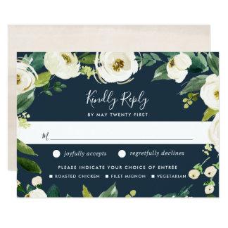 Alabaster Floral Meal Choice RSVP Card
