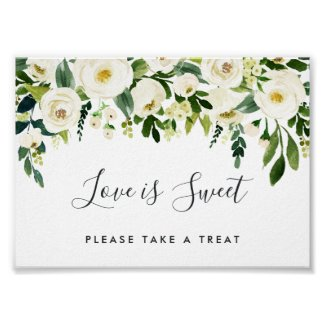 Alabaster Floral Wedding Dessert Bar Sign