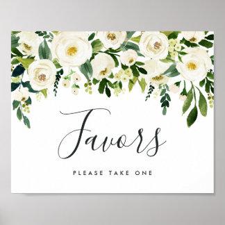 Alabaster Floral Wedding Favor Sign