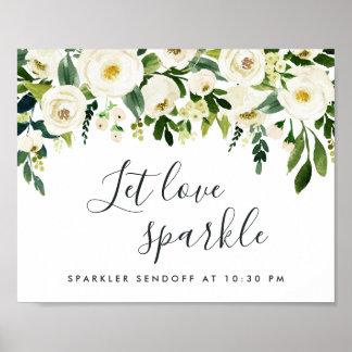 Alabaster Floral Wedding Sparker Sendoff Sign