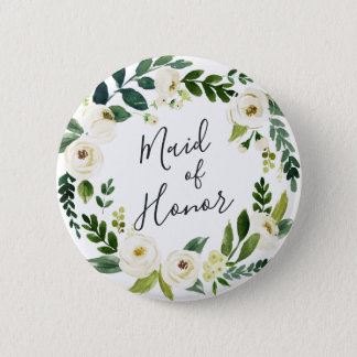 Alabaster Floral Wreath Maid of Honor 2 Inch Round Button