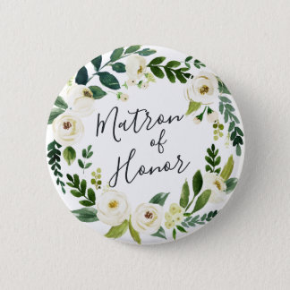 Alabaster Floral Wreath Matron of Honor 2 Inch Round Button